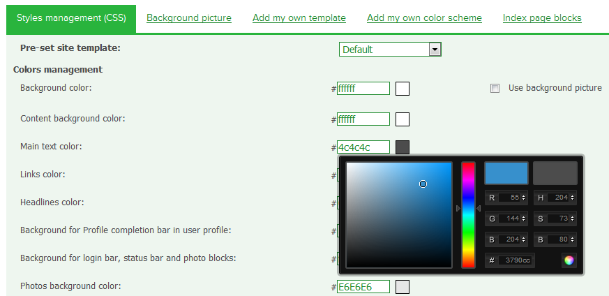 Dating Pro site builder - design management tool