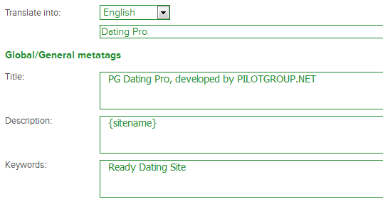 PHP dating script from Pilot Group - metatags edition